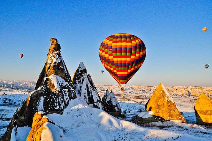 Balloons in Winter Cappadocia