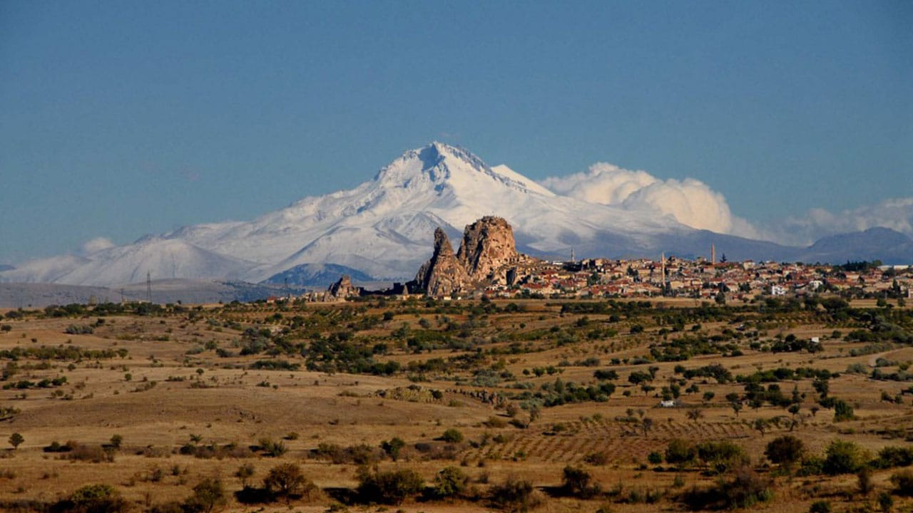 Mount Erciyes Cappadocia from Uchisar Fortress