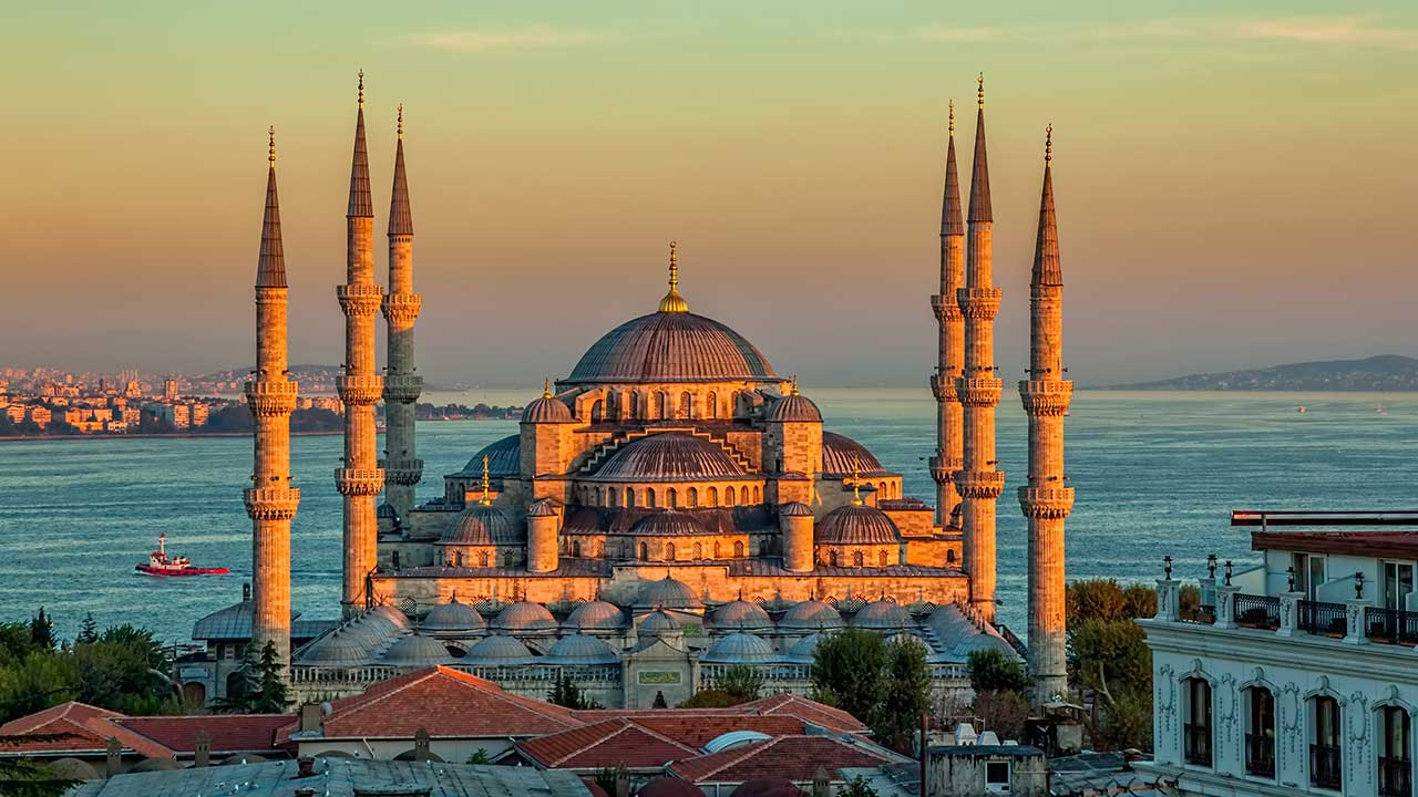Blue Mosque Sunset Istanbul