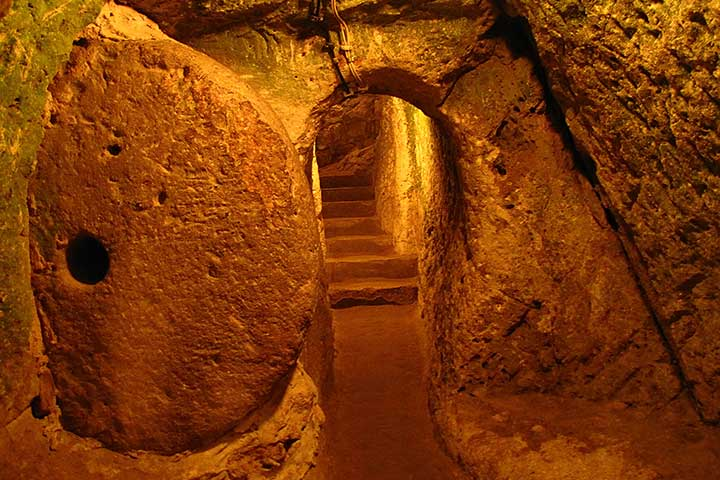 Stone Doors of Underground Cities in Cappadocia