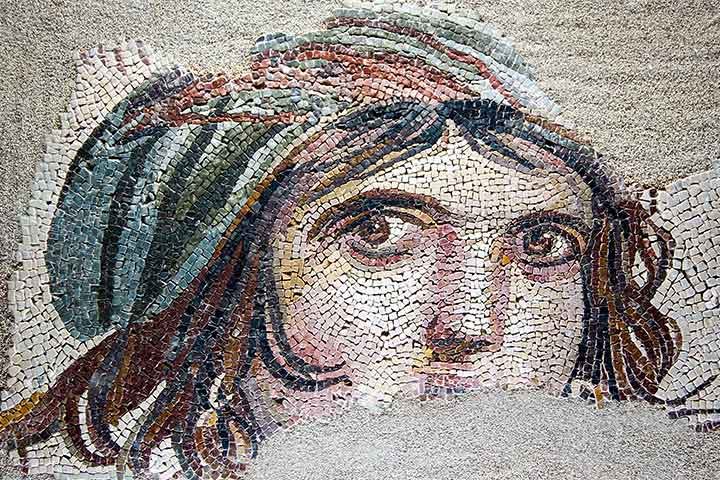 Gypsy Girl at Zeugma Mosaic Museum in Gaziantep, Turkey