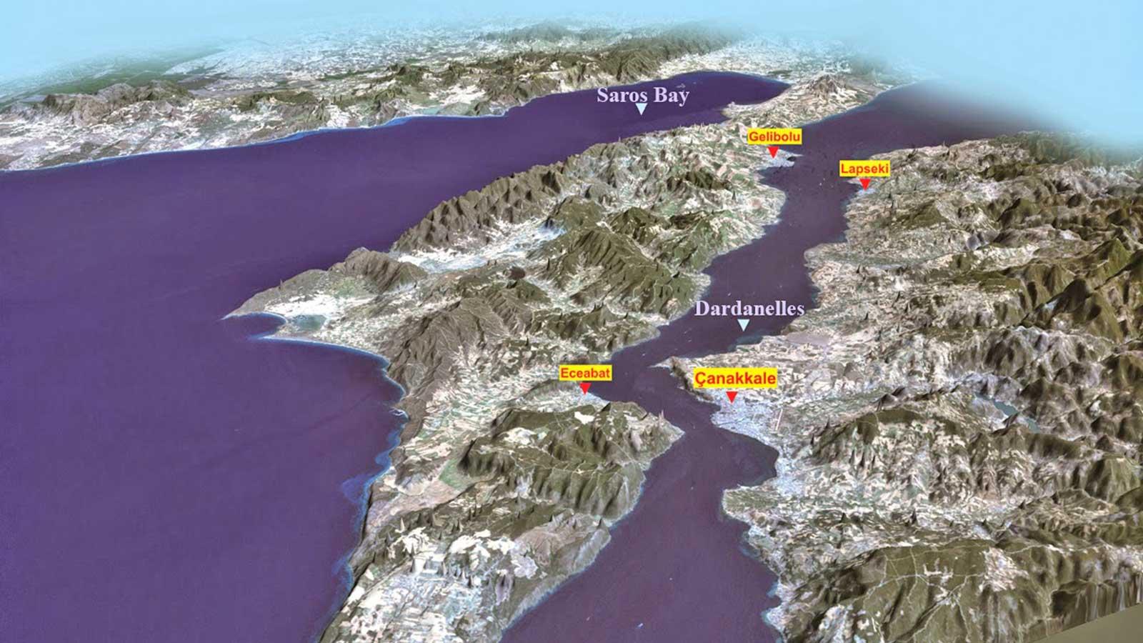 Canakkale Dardanelles Strait Map