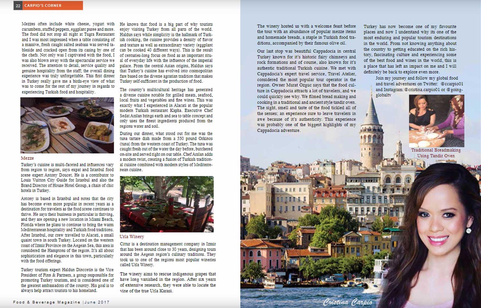 Food & Beverage Magazine June 2017 East Meet West, Cristina Carpio by Going Global TV Cover Cappadocia