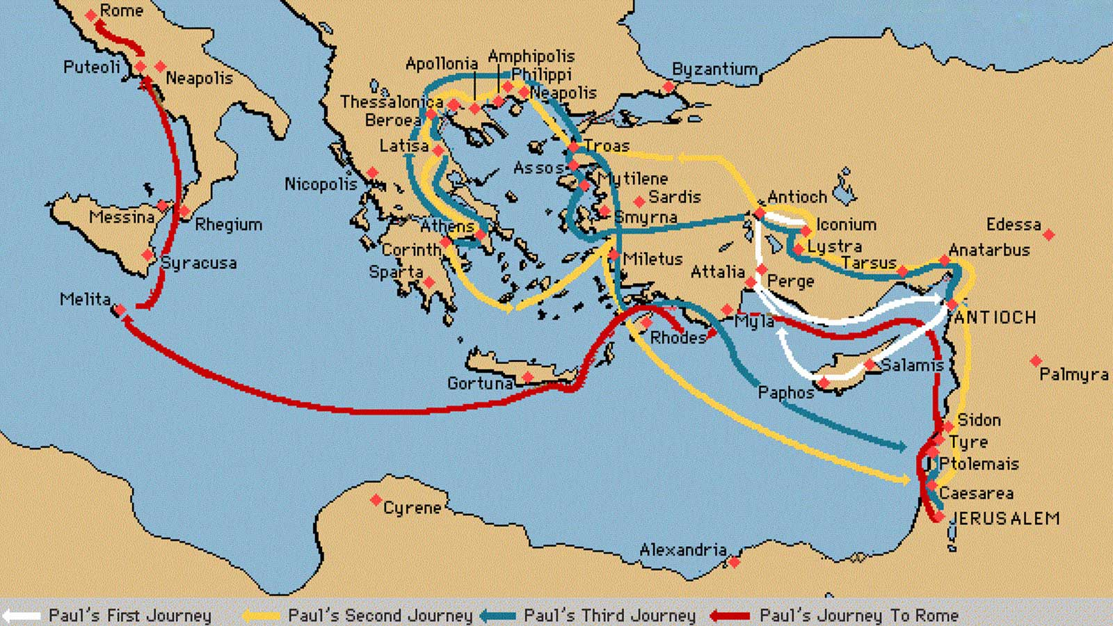 Saint Paul Missionary Journeys Map