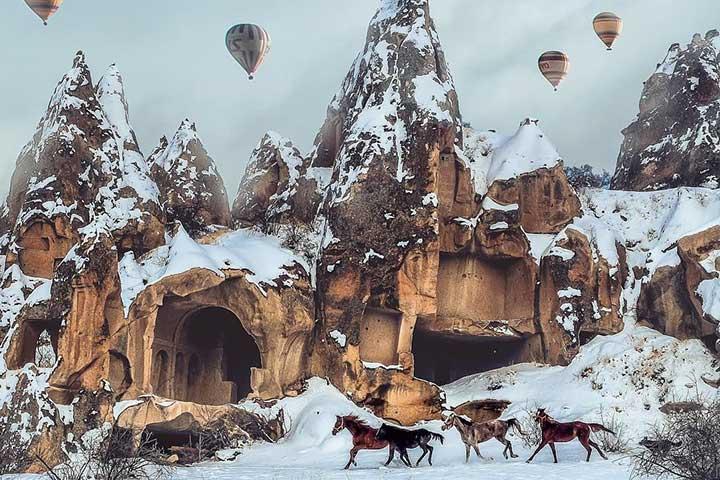 Cappadocia Under Snow Horses